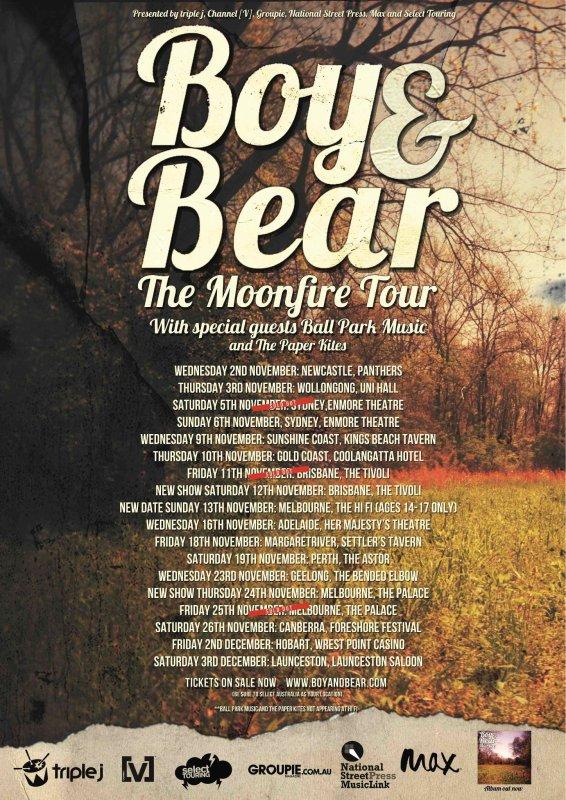 Boy and Bear Moonfire Tour